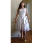 A-line/Princess Plus Sizes Wedding Dress - Ivory Tea-length Scoop Lace/Organza