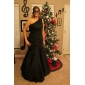 Prom/Formal Evening Dress - Black Plus Sizes Trumpet/Mermaid One Shoulder Floor-length Taffeta