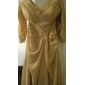 A-line Plus Sizes Mother of the Bride Dress - Chocolate Floor-length 3/4 Length Sleeve Chiffon
