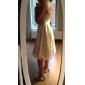Linia -A Regina Anne Lungime Genunchi Satin Tulle Rochie de mireasă cu Dantelă Nasture de LAN TING BRIDE®