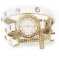 Timi Kvinnors blommönster Gold Case PU Watch-W1201
