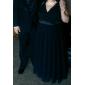 저녁 정장파티/밀리터리 볼 드레스 - 루비 시스/컬럼 바닥 길이 V넥 쉬폰 플러스 사이즈
