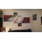 dipinti ad olio set di 4 moderni rossi astratte linee fluide della tela di canapa dipinta a mano pronta per essere appesa