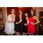 Cocktail Party/Abiball/Hochzeitsparty Kleid - Perlen Pink Chiffon - A-Linie/Princess-Stil - knielang - Juwel-Ausschnitt Übergröße