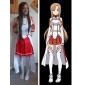 Inspirerad av Sword Art Online Asuna Yuuki Animé Cosplay-kostymer cosplay Suits Ärmlös Topp Kjol Ärmar Armbindel Midje accessoar Legguards