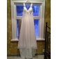 Sheath/Column Plus Sizes Wedding Dress - Ivory Court Train V-neck Chiffon