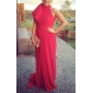 Formal Evening Dress - Fuchsia Plus Sizes A-line/Princess High Neck Court Train Chiffon
