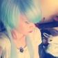 drake sjunger blått och lila blandad lång rak fe prinsessa lolita peruk