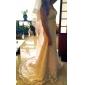 Trompetă / Sirenă In Formă de Inimă Trenă Court Șifon Dantelă Rochie de mireasă cu Cristal Nasture de LAN TING BRIDE®