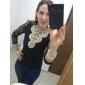 Femei Stand Bluză Casul/Zilnic Sexy,Jacquard Manșon Lung Toate Sezoanele-Bej / Negru Mediu
