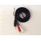 Ljud 3,5 mm HDMI-kabel till VGA-omvandlare till komponent-RCA-kabel Aux Kabel till USB-adapter för MP3 iPod (Svart, 1,5 M)
