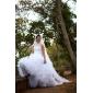 Ball Gown Plus Sizes Wedding Dress - Ivory Chapel Train High Neck Organza
