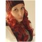 sans bonnet perruque rouge extra long de haute qualité naturelle bouclés synthétique