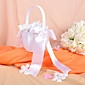 Classic Flower Girl Basket in White Satin With Bows