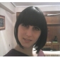 Capless Kort Bob högkvalitativa syntetiska naturlig svart rakt hår peruk Full Bang