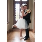 Ball Gown Wedding Dress - Ivory Knee-length Bateau Satin/Tulle