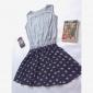 Femei Bungee Talie Floral Print șifon Sleeve Mini rochii