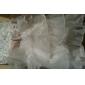 Rochie de mireasa genunchi lungime rochie fata rochie - organza fără buzunar gât de bijuterie cu perla