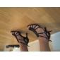 Chaussures de danse(Noir) -Non Personnalisables-Talon Personnalisé-Satin-Latine Salon