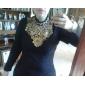 Dame Stand Bluză Casul/Zilnic / Plus Size Simplu(ă),Mată Manșon Lung Primăvară / Toamnă / Iarnă-Roșu / Negru Mediu Poliester