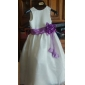 A-line/Princess Floor-length Flower Girl Dress - Satin/Organza Sleeveless