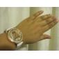 Mulan pu läder kvinnor klänning klocka med strass-3 (vit)