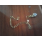 Yueli kvinnors Vit 18K Guld Zircon Pendant Inkl. Halsband D0134