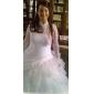 Robe de Mariée en Organza, Coupe Robe de Bal, Décolleté Ras-du-Cou & Dos Nu, Traîne Chapelle