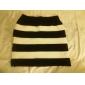Witte en zwarte elastische gestreepte Knit Pakket Hip Rokje (taille :58-79cm Hip :90-104 Lengte: 56cm)
