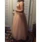 Linia -A Prințesă Fără Bretele Lungime Tea Tulle Petrecere Cocktail Venire Acasă Bal Petrecere Nuntă Rochie cu Arc Ruching de TS Couture®