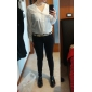 Women's Solid Black/White Blouse,Work/Casual V Neck Long Sleeve