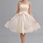 A-line sweetheart genunchi lungime șifon rochie de onoare cu arc (e)