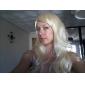 Capless qualité à long Big Wave perruque blonde synthétique Bang Side