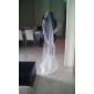 Voal de Nuntă Trei niveluri Voaluri Lungime Până la Vârfurile Degetelor Margine cu Aplicație de Dantelă 118.11 în (300cm) Tul Dantelă
