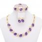 fashionablegold pläterad royal oäkta ädelsten smycken / mode smycken set med örhängen # a034p