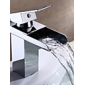 Bathroom Sink Faucet in Modern Style Single Handle Waterfall Bathroom Sink Faucet (Chrome Finish)
