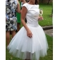 Lanting Bride® Princess Petite / Plus Sizes Wedding Dress - Chic & Modern / Reception Little White Dresses Knee-length BateauSatin /