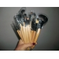 24pcs Burlywood professionell trähandtag makeup borste set med svart läderfodral