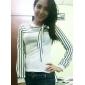 rayas de cuello del arco de las mujeres imprimen manga larga camiseta