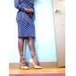 Muncă Teacă Rochie-Buline Manșon Lung Rotund Lungime Genunchi Albastru Toate Sezoanele Strech Mediu