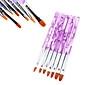 7pcs 2in1 akryl&uv gel borste som nylon hår vattenmönster lila transparent akryl handtag nail art