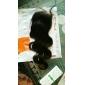8 - 22inch Naturlig svart (#1B) Spetsfront Vågigt Mänskligt hår Stängning Ljusbrunt Schweizisk spets 30g-55g gram Cap Storlek