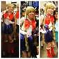 vente chaude chaleur de haute qualité résistants 100cm femmes ondulés bouclés d'or mignons cosplay sailor moon perruque longues tresses +