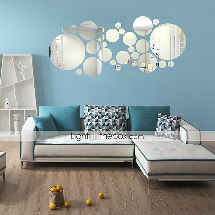 3D Round Shape Wall Stickers DIY Mirror Wall Stickers ...