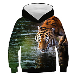 Kids Boys' Hoodie Sweatshirt Long Sleeve Tiger Print 3D Animal Print Rainbow Children Tops Active Streetwear Lightinthebox