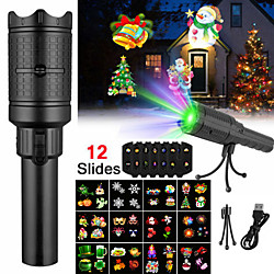 LED Projector Flashlight Landscape Outdoor Xmas Party Garden Film Lamp 4 Pattern Projection Lamp Hal