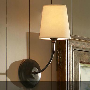 applique da parete contemporaneo con paralume in tessuto e staffa metallica - USD $ 129.99