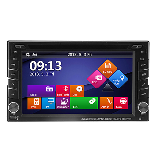TH8129GA 6.2 inch 2 DIN Windows CE 6.0 / Windows CE In-Dash Car DVD Player GPS / Touch Screen / Built-in Bluetooth for universal Support / iPod / 3D Interface / Steering Wheel Control