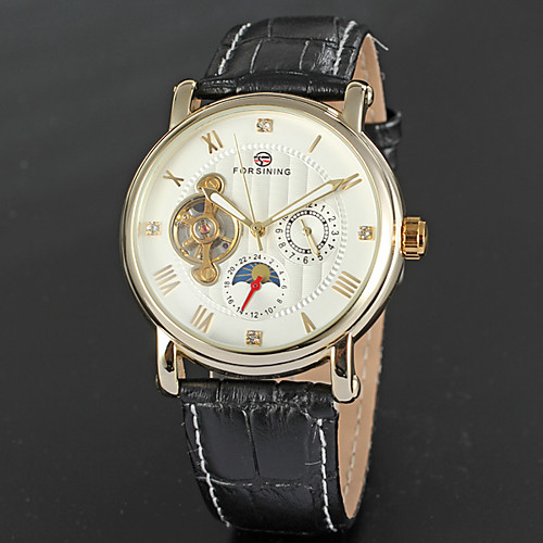 FORSINING Men's Wrist Watch Aviation Watch Automatic self-winding Leather Black / Brown 30 m Calendar / date / day Moon Phase Analog Classic Vintage Fashion Cool - Black / Gold White / Gold White