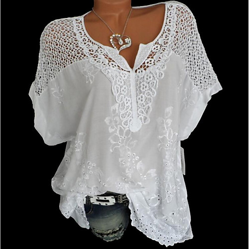 Women's Solid Colored Lace Loose Blouse Causal V Neck White / Black / Blue / Red / Gray